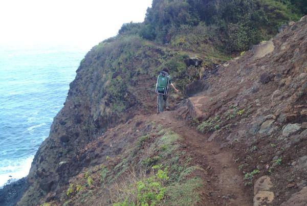 Kalalau Trail -- hiker on trail